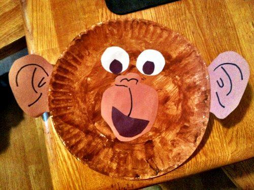 обезьяна из тарелки поделка3