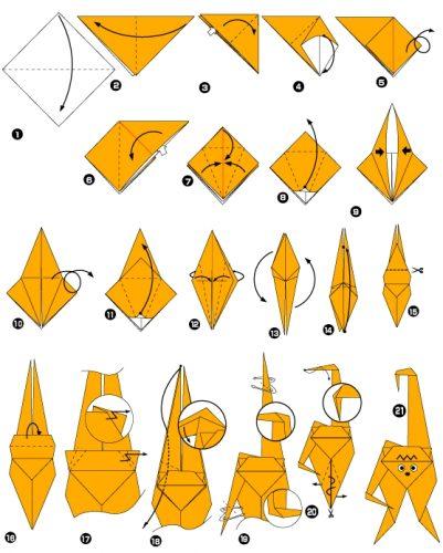 схема для оригами обезьяна