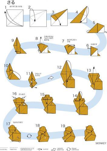 схема для оригами обезьяна3