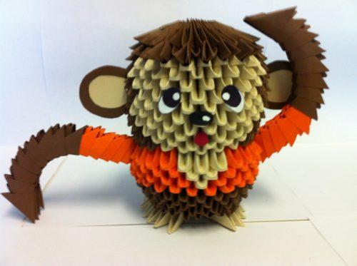 Оригами обезьяна (видео и фото изготовления)