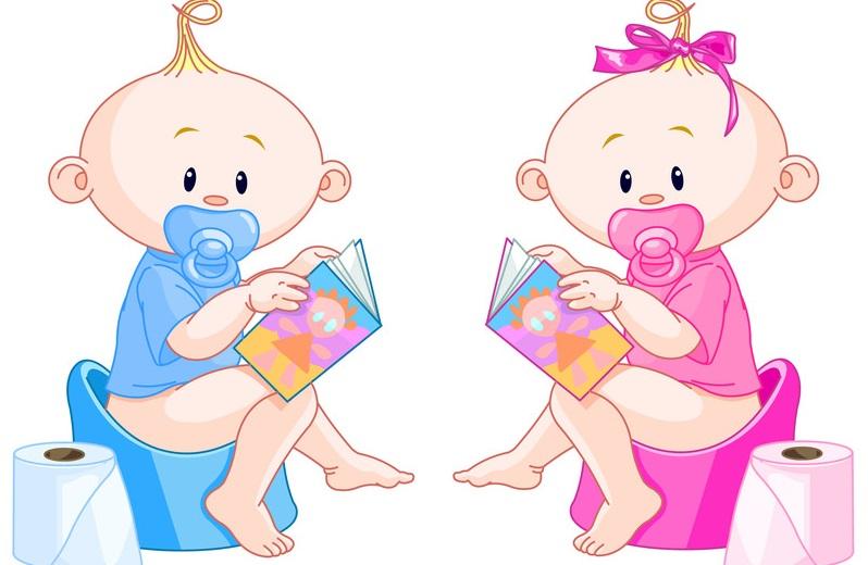 каррикатура мальчик и девочка на горшках