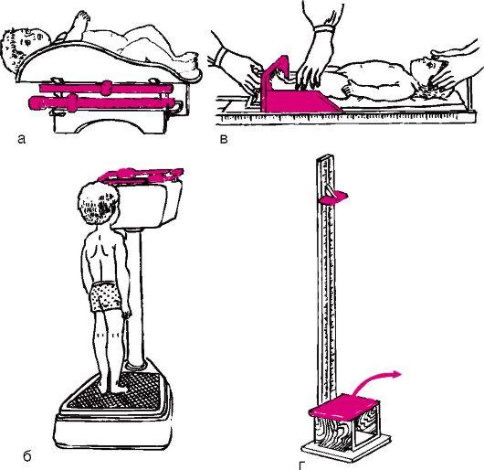 измерение роста и веса новорожденного