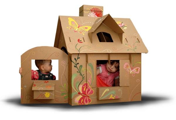 картонный домик для малышей