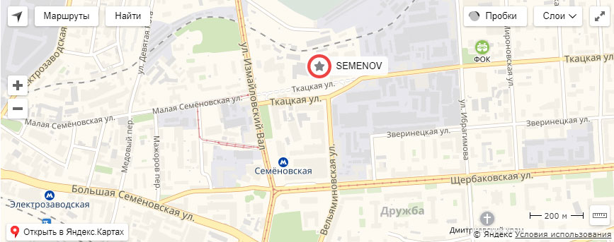 адрес на карте Семенов клуб